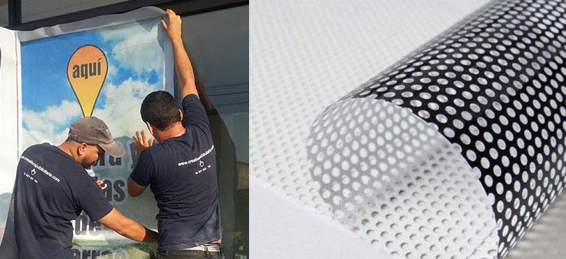 Colocación de Adhesivos Microperforado