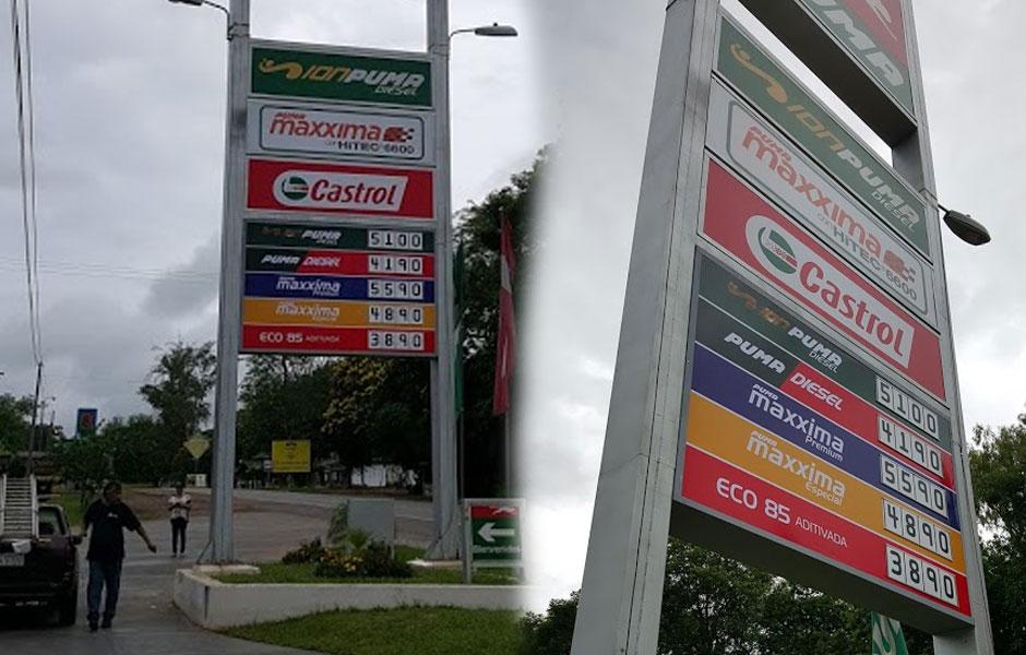 carteles intercambiables para estacion de servicos