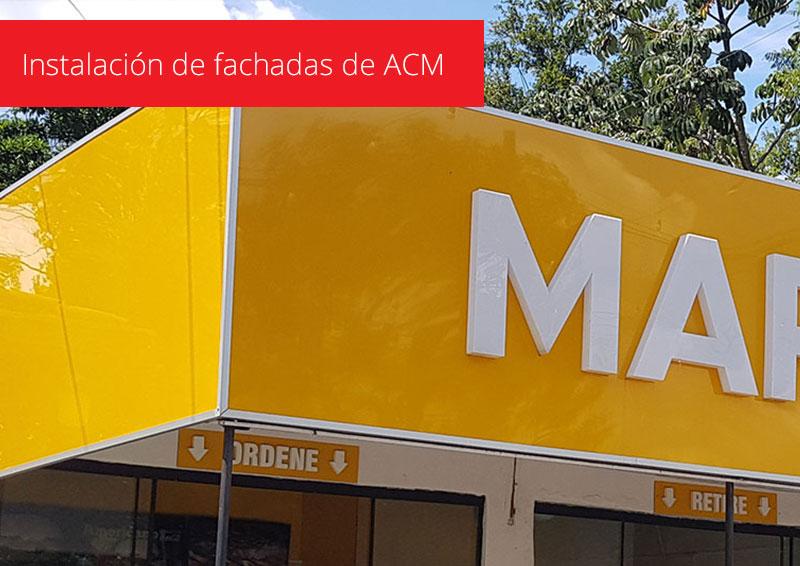 Instalación de fachadas de ACM
